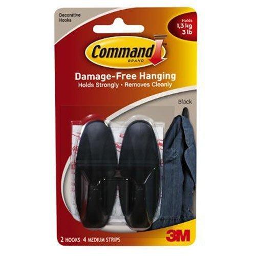 Command Designer Hooks, Medium, Black, 4-Hooks (17081BLK-ES)