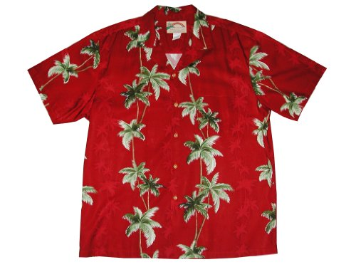 (Paradise Found Mens Coconut Panel Shirt Red XL)