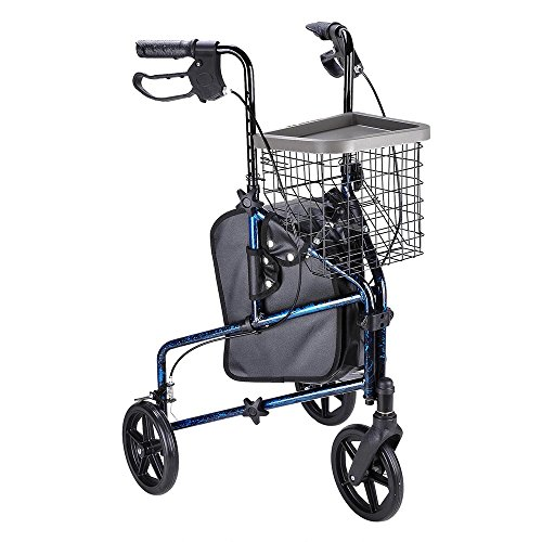 (ZeHuoGe Aluminum Alloy Walking Aid Foldable, Rollator Walker with Basket & Bag 3 Wheels ,Adjustable Handles Height, Hand Brakes, 300Lbs Max Weight Capacity US Delivery)