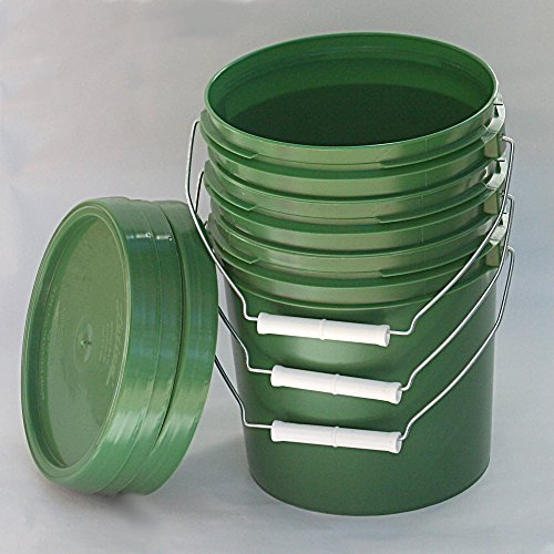 - 3 Pack Green 1 Gallon Buckets with Metal Handles and Lids