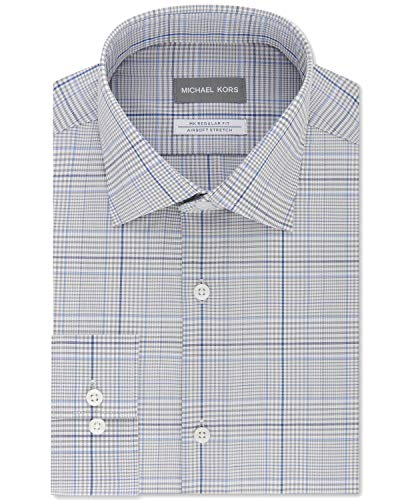 Michael Michael Kors Men's Classic/Regular Fit Non-Iron Airsoft Stretch Performance Blue Check Dress Shirt Multi Blue 16.5X32-33.