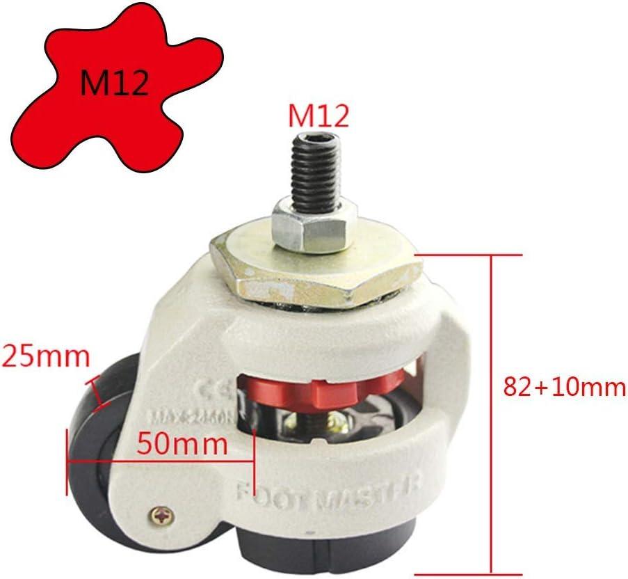 /φ42//50mm YZZR Industrielles roulettes r/églables PA Roulette Pivotantes,Boulon M8//12,Facile Pousser et Tirer//La s/écurit/é,Lot de 4
