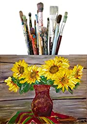 Echo Art Products 24-Piece Artist Paint Brush Set with Canvas Holder, Reusable Tube and eBook