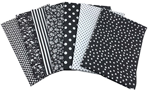 "Black Fat Quarter - Misscrafts 7pcs 19.7"" x 19.7"" TOP Cotton Blending Textile Craft Fabric Bundle Fat Quarter Squares Patchwork DIY Sewing Scrapbooking Dot Floral Pattern (Black)"