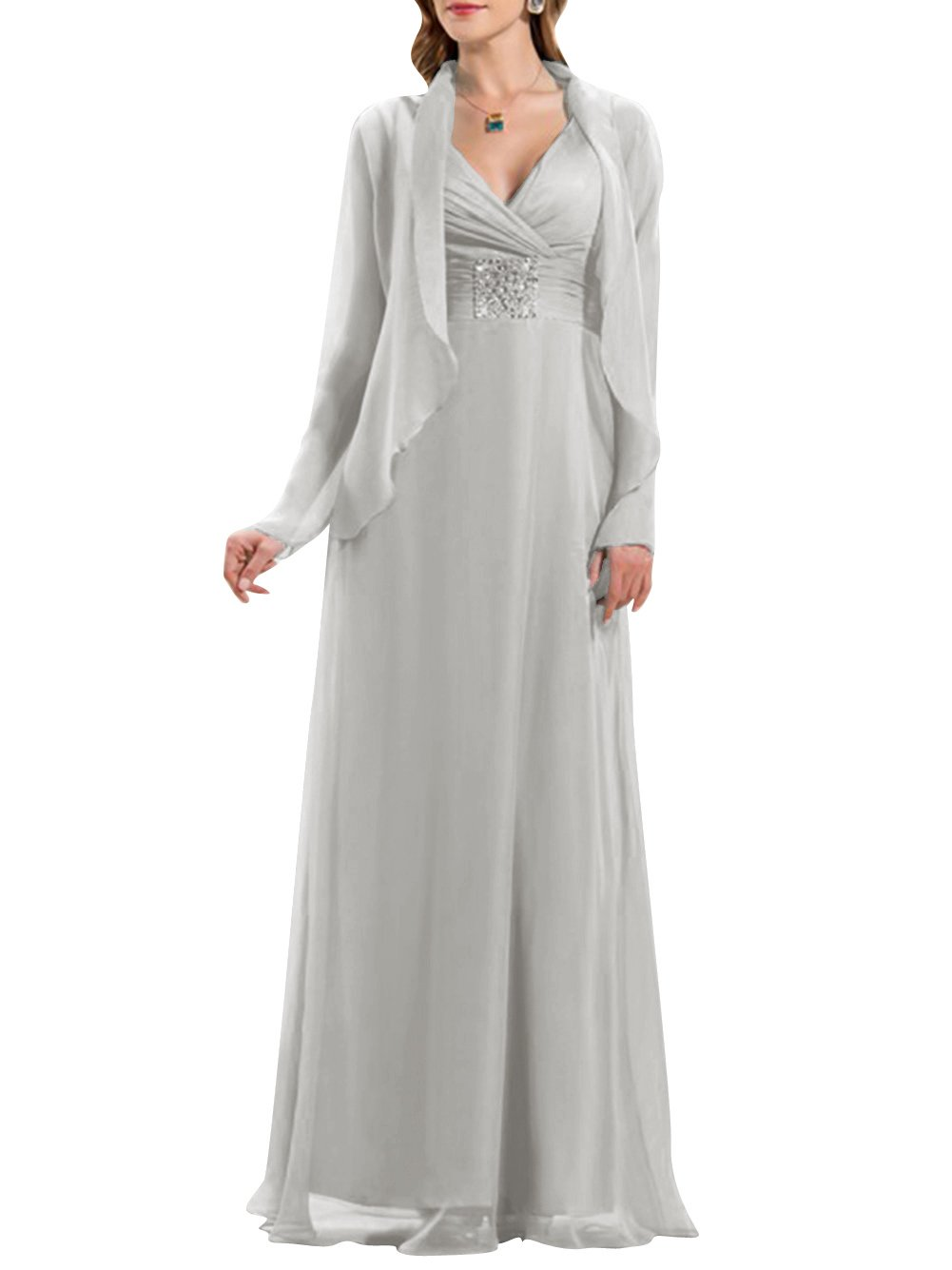 037ff9214c7e2 ModeC Long V-Neck Chiffon Beaded Mother of The Bride Formal Dress with  Jacket Silver US20W