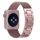 hooroor Apple Watch Bands 38mm 42mm for Women Men, Classic Stainless Steel Metal Mesh Smartwatch Milanese Loop with Unique Jewelry Buckle for Apple Watch Series 3 2 1 Sport and Edition Large Size