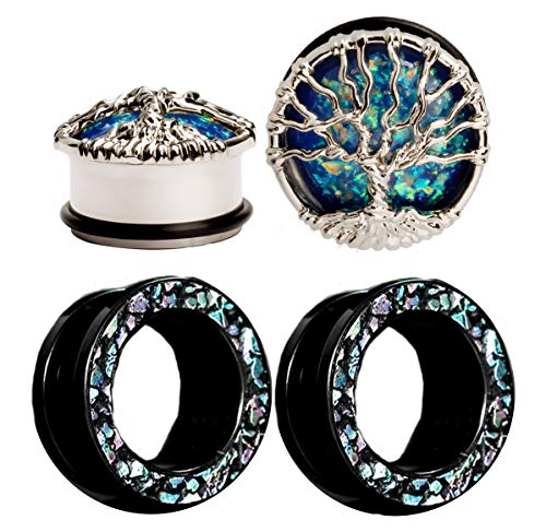 Zaya Body Jewelry 2 Pairs Blue Gem Tree of Life and Stained Glass Shell Screw fit Tunnels Gauges Ear Tunnels 0g 00g 1/2 9/16 5/3/4 7/8 1 inch (1 inch 25mm)