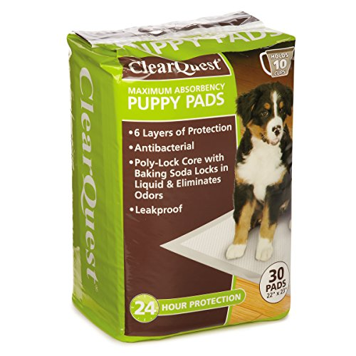 ClearQuest Maximum-Absorbency Puppy Pads, 30-Count Bag, Anti-Microbial, Hold 10 Cups, Scented to Attract (Maximum Absorbency Puppy Pads)