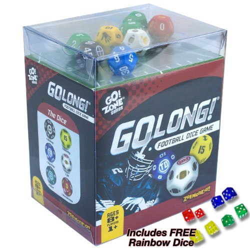 (GoLong Football Dice Game - Travel Edition. Plus Free Rainbow Dice!)