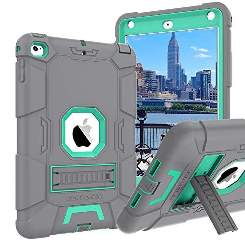 iPad Mini 4 Case,iPad Mini 4 Retina Case,BENTOBEN 3 in 1 Hybrid [Soft&Hard] Heavy Duty Rugged Stand Cover Shockproof Anti-Slip Anti-Scratch Full-Body Protective Cases for iPad Mini 4,Gray/Mint Green