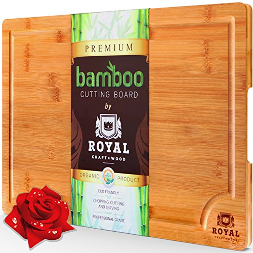 EXTRA LARGE Organic Bamboo Cutting Board with Juice Groove - Best Kitchen Chopping Board for Meat (Butcher Block) Cheese and Vegetables | Anti Microbial Heavy Duty Serving Tray w/ Handles - 18 x 12 (Wine Standard Monogram)