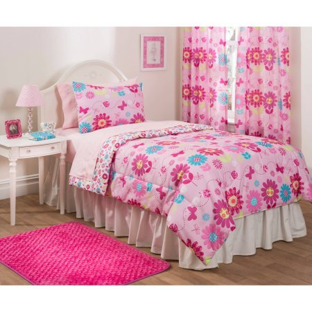 - MS Mainstays Kids Daisy Floral Bed in a Bag Bedding Set, (Twin) + Handi Wipes