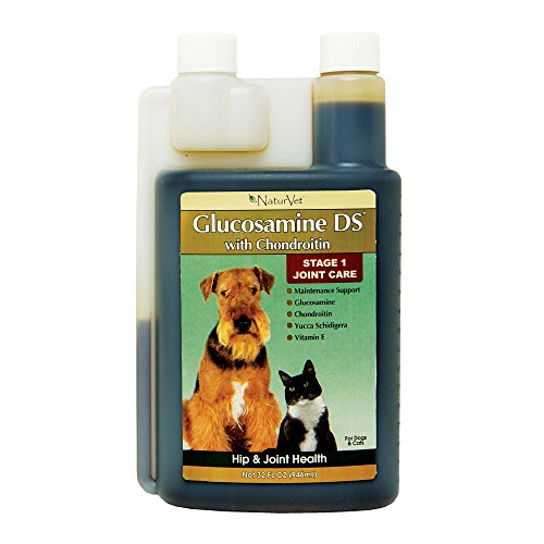 NaturVet Glucosamine DS Level 1 Maintenance, Joint Care Support Supplement for Dogs and Cats, Liquid, Made in the USA, 32 Ounce