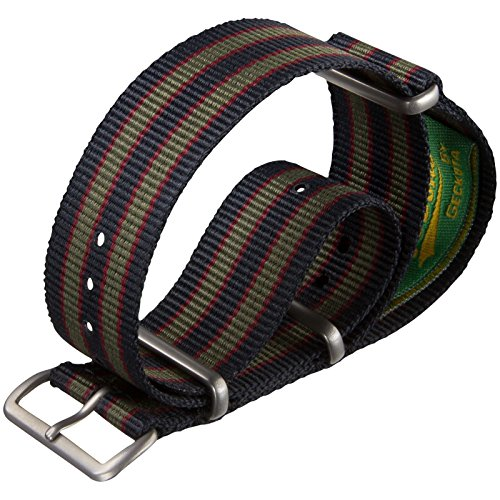 Red Stripes Watch - Vintage Bond Nylon Watch Strap UK MOD Dark Blue/Red/Green Stripe 18mm Satin