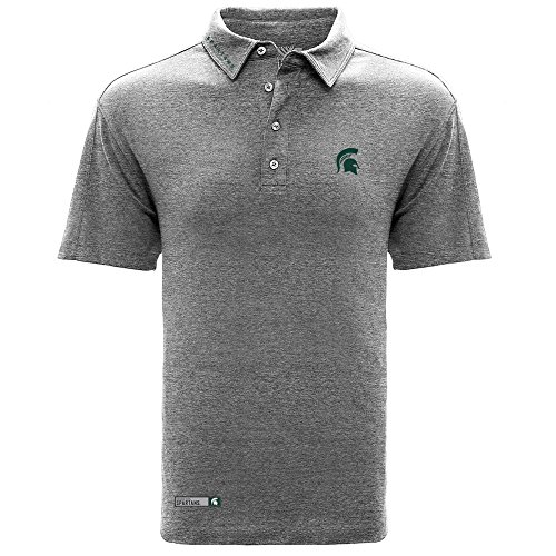 Levelwear LEY9R NCAA Michigan State Spartans Men's Reign Wordmark Polo, Small, Heather Pebble ()