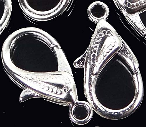 30x16mm X-Large Plated Silver Pewter Lobster Claw Clasps 5