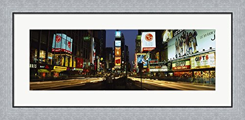Shopping malls in a city, Times Square, Manhattan, New York City, New York State, USA by Panoramic Images Framed Art Print Wall Picture, Flat Silver Frame, 35 x 17 - York Manhattan Shopping New Malls In