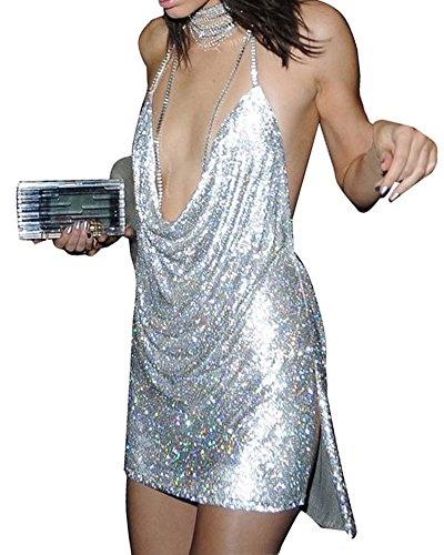 Whoinshop Womens Strappy Choker Open Front Sequin Side Split Backless Sexy Birthday Party Dress Silver M