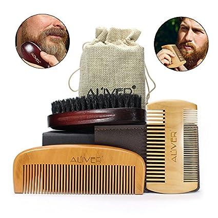 Set De Cepillos Y Peines Para Hombres, Kit De Cepillo De Barba Para Cerdas De
