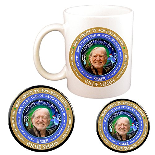 (Willie Nelson Singer Cup + Magnet + Pin, Astrology Taurus Zodiac Water Rooster)