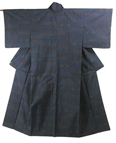 ラッチコウモリジェットリサイクル 着物 大島紬 カタス式7マルキ 正絹 袷 華文  裄66cm 身丈162cm