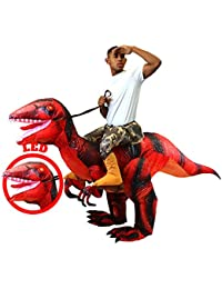 Inflatable Raptor Riding a Raptor Dinosaur Deluxe Costume with Light-up LED Eyes- Adult (Red)