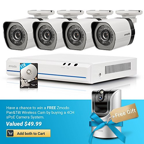 Zmodo 4 Channel White sPoE Security Camera System with 4 Indoor/Outdoor IP Cameras and 1TB Hard Drive by Zmodo