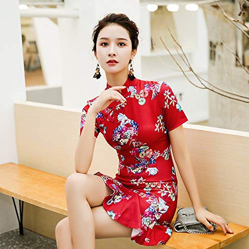 Cheongsam Temporada Maiden Flor Tamaño color Rojo 035 Moda Fxnn Xxl vestido Rojo Original w6gXnqE1p