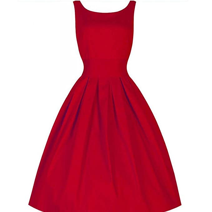 Teamyy Vestido de Cóctel para Mujer Vintage Sin Manga Sólido Fiesta Elegante Rojo