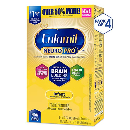 - Enfamil NeuroPro Baby Formula Milk Powder Refill, 31.4 ounce (Pack of 4) - MFGM, Omega 3 DHA, Probiotics, Iron & Immune Support