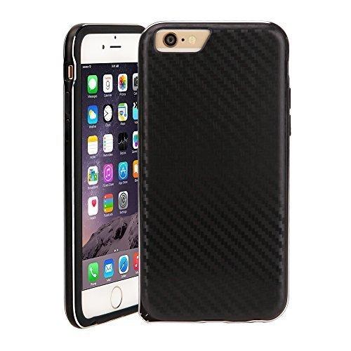 iPhone 6 Case, WOWCASE Alloy Bumper & IMD TPU Cover Case (Black / Carbon Fiber Black)