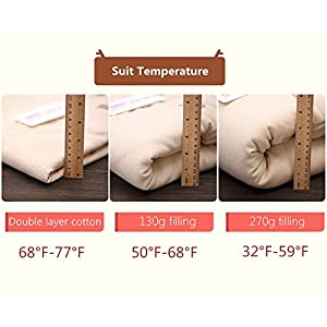 OuYun Baby Organic Sleeping Bag Winter Detachable Sleeve Wearable Blanket for Winter,350g Filling(32-59℉)