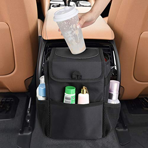 Car Trash Garbage Can with Lid and 3 Storage Pockets, Car Trash Bag Hanging Automotive Trash Bin for Front and Back Seat, Portable Car Interior Large Storage Accessories, 100% Leak-Proof Vinyl Inside Lining