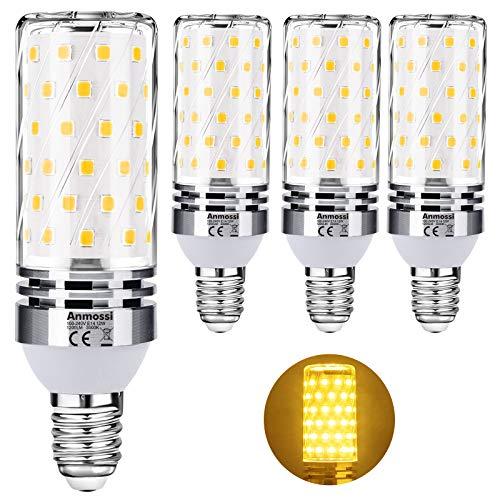 Anmossi E14 LED Lampe Warmweiß,3000K,1200Lm,Nicht Dimmbar,12W E14 Led Mais Lampen ersetzt 100W Glühbirne,Energiesparlampe Kleine Edison Schraube E14,4er Pack