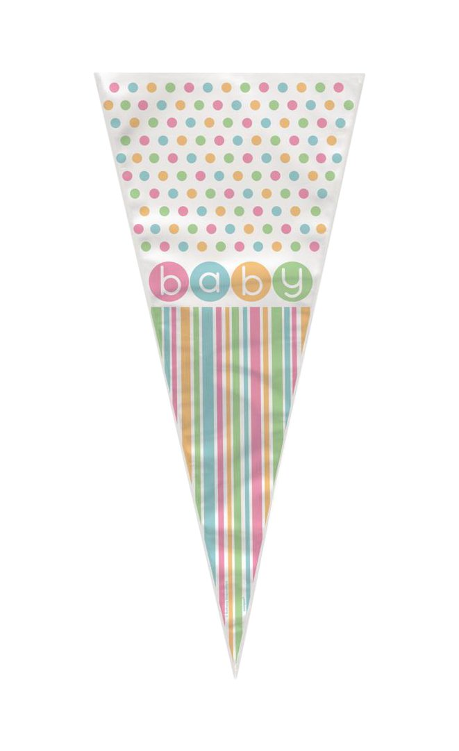 Pastel Baby Shower Cone Cello Bags, 20ct