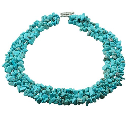 SUNYIK Green Howlite Turquoise Tumbled Stone Bib Necklace Collar Choker Strands 17.5 inches