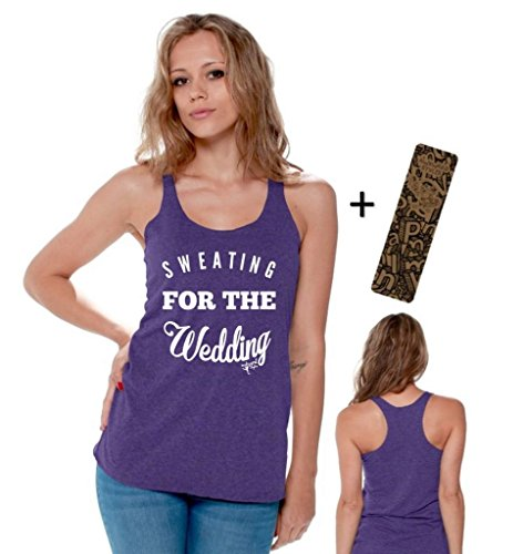 Awkwardstyles Sweating for The Wedding Racerback Tank Tops White + Bookmark M Purple by Awkward Styles