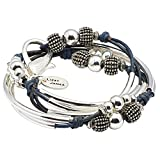 London Silverplate XLarge Bracelet Necklace with True Blue Leather Wrap by Lizzy James