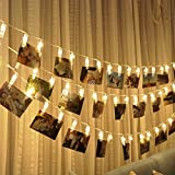 #10: 20 LED Photo Clips String Lights Christmas Lights Starry light Wall Decoration Light for Hanging Photos Paintings Pictures Card and Memos, 16.4 feet, Battery Powered, Warm White