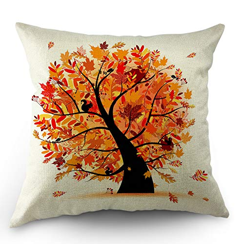 (Moslion Tree Pillow Cover Autumn Forest Maple Squirrels Leaf Branch in Fall Throw Pillow Case 18x18 Inch Cotton Linen Canvas Decorative Happy Father's Day Square Cushion Cover Sofa Bed Orange)