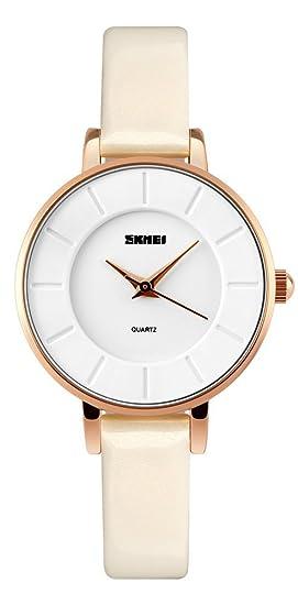 mastop - elegante moda retro relojes oro caso simple lectura UAP funda de piel reloj de pulsera: Amazon.es: Relojes