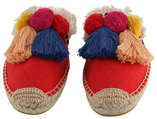 U-lite Women's Frayed Red Tassel Pom pom Embroidered Canvas Mule Shoes Espadrilles Flats 10 by U-lite (Image #2)
