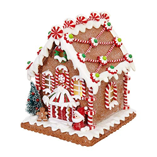 - RAZ Imports Gingerbread House Glittered 5.5 x 6.5 Inch Light Up Claydough Christmas Figurine