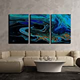 wall26 3 Piece Canvas Wall Art - Closeup View of an Original Painting. Hand Painted Abstract Dark Cosmic Grunge Background - Modern Home Decor Stretched and Framed Ready to Hang - 24''x36''x3 Panels
