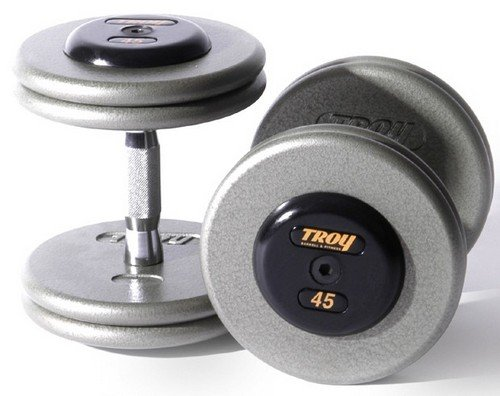 Troy Barbell Hammertone Pro-style Straight Rubber Dumbbells