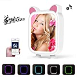 LED Light Mirror Bluetooth Speaker for Child 7 Colors Dimmable Changing Night Light Lamp Touch Activated Music Playing Bedroom, Gift for Kid Girl Baby, Women Makeup