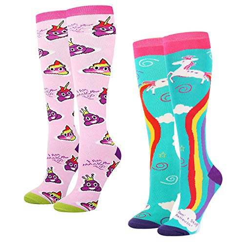 Women's Novelty Knee High Socks Rainbow Unicorn Poop