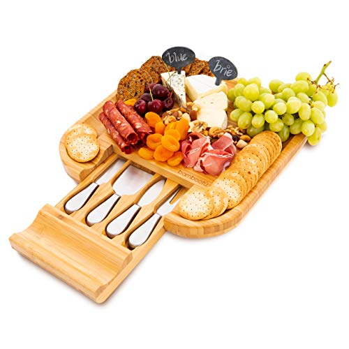 Bamboo Cheese Board and Cutlery Set - Includes 4 Stainless Steel Knives in Slide-Out Drawer - Meat and Fruit Serving Platter - Perfect Gift for Wedding, Anniversary, Thanksgiving, Xmas - Bonus gifts!