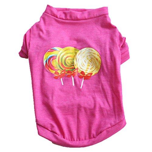 Unisex Rainwear (Woaills Hot Sale!!Small Dog Cat Clothes, XS-L Pet Puppy Summer Lollipop Shirt Vest Unisex T Shirt (S, Hot Pink))