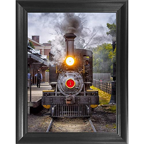 Train Wall - Train 3D Poster Wall Art Decor Framed Print | 14.5x18.5 | Lenticular Posters & Pictures | Memorabilia Gifts for Guys & Girls Bedroom | Vintage Steam Engine Locomotive & Train Enthusiast Picture